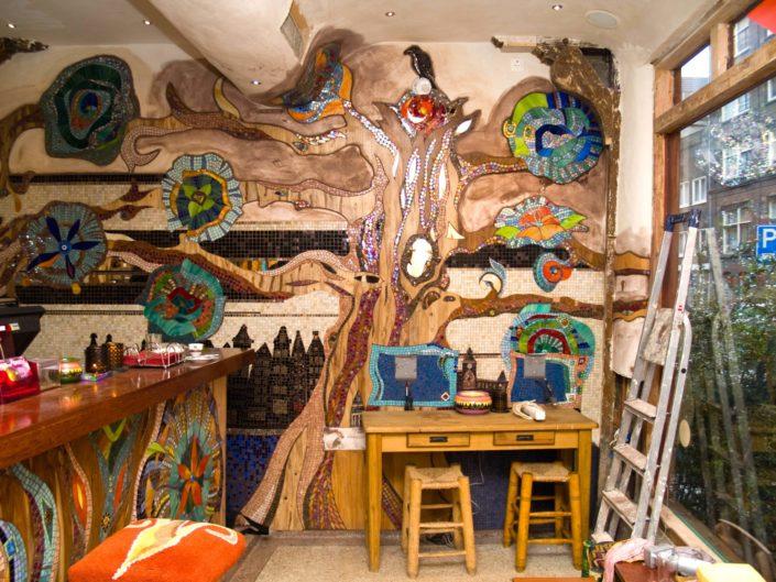 Coffeehop Amsterdam Abraxas Mozaïek Siomara van Eer MosaicAffairs mosaic art in opdracht weed hash