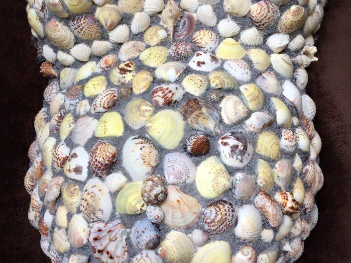 Bellymask mozaïek MosaicAffairs schelpen shells sea shells art